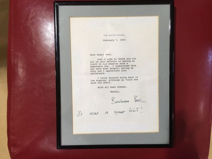Barbara Bush Signed Letter Framed