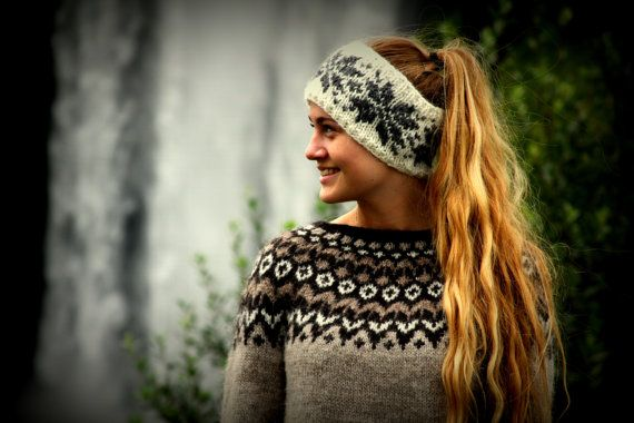 Headband, Earwarmer, White, Dark Grey, Snow Flakes, warm, cozy, Icelandic wool, MADE TO ORDER