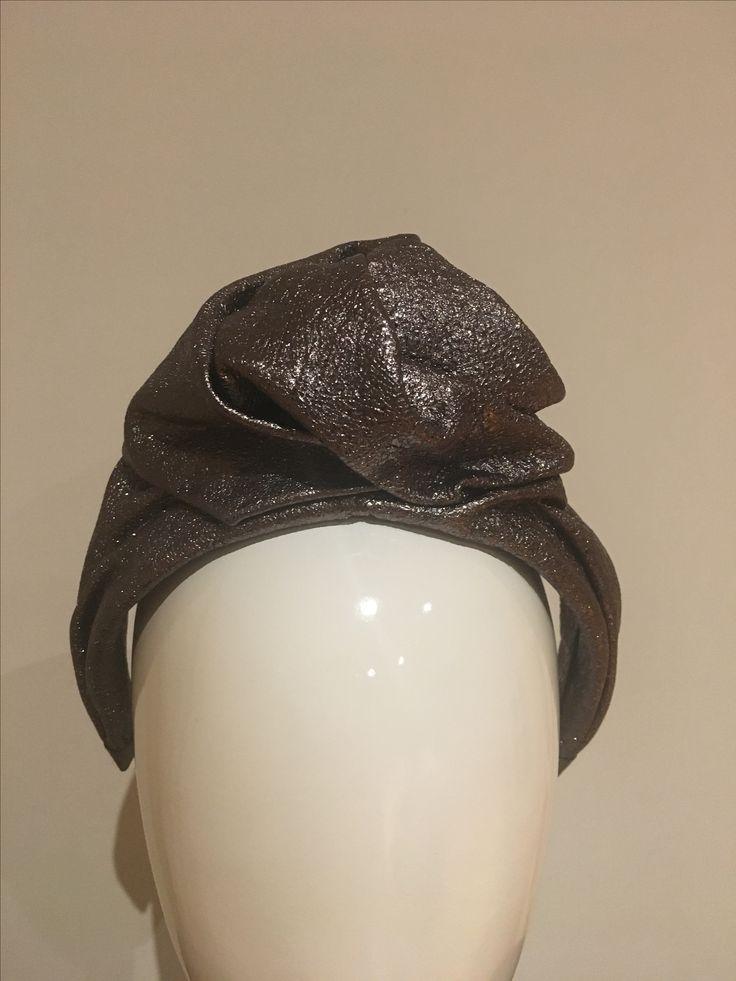 Metallic leather Turban headband AW2017