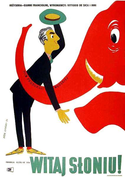 """By  Eryk Lipinski, 1 9 5 4, """"Bongiorno, elefante !"""", Italy (Rizzoli - De Sica)."""