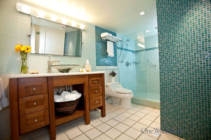 Transitional Style Bathroom Design With Sea Glass Blue Tile