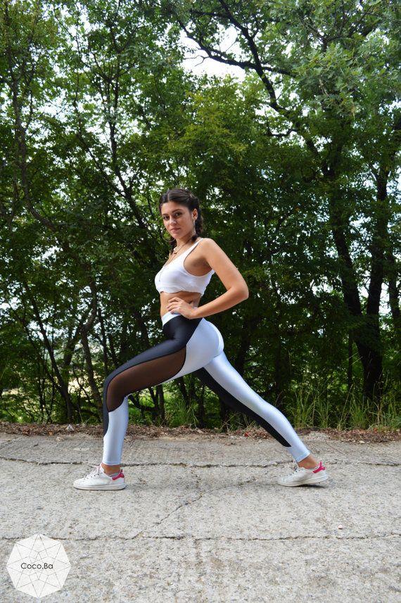 Women Leggings Black  Light Blue Leggings by CocoBaLeggings