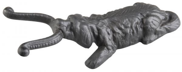 Kutya alakú, fekete öntöttvas csizmalehúzó.