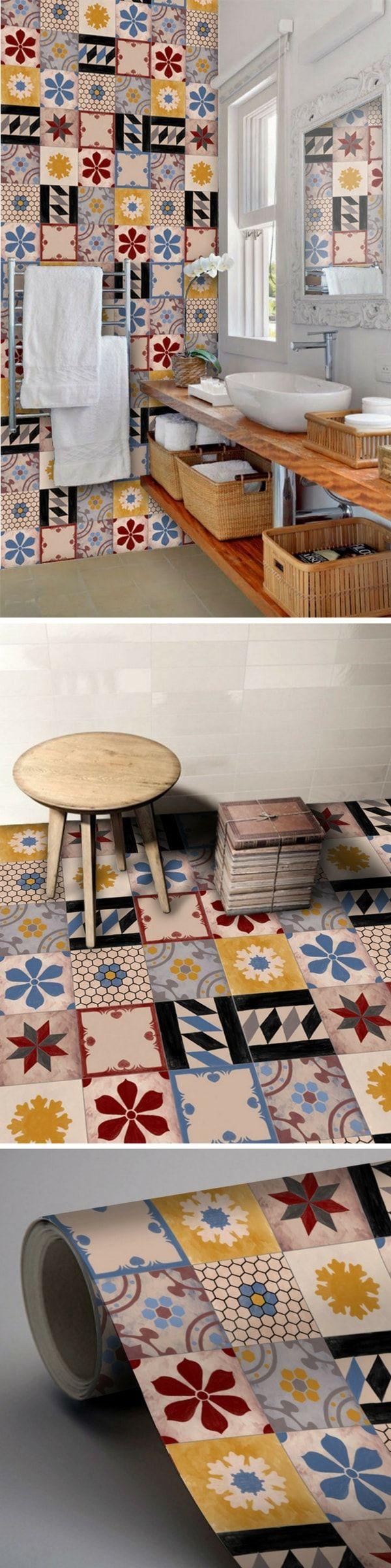 Les 624 meilleures images du tableau carrelage adh sif sur for Papier peint carreaux de ciment 4 murs