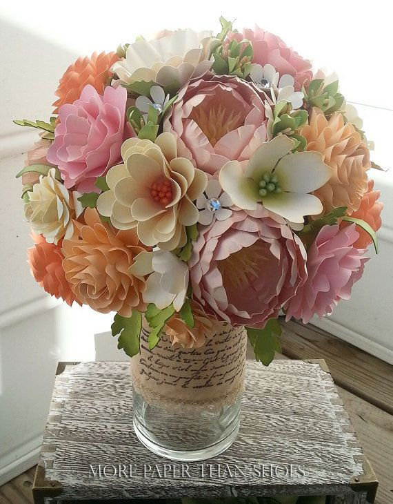 Paper Bouquet - Paper Flower Bouquet - Wedding Bouquet - Shades of Peach and Pink with Country White - Custom Made - Any Color