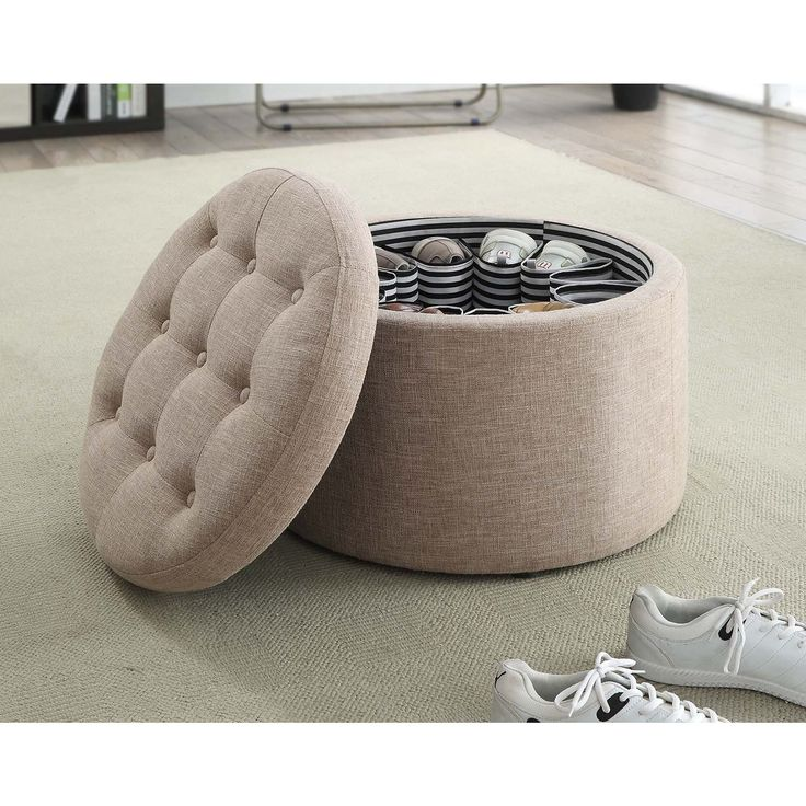 Designs4Comfort Round Shoe Ottoman (Tan Fabric), Brown (Faux Leather)