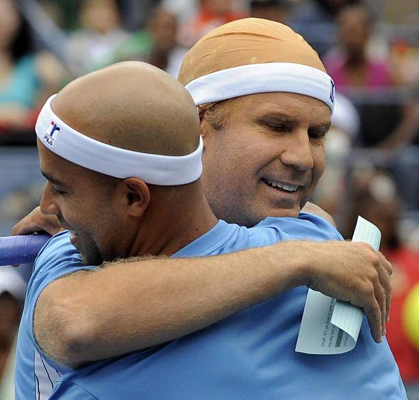 Actor Will Ferrell And Us Tennis Player James Blake Joke During The Arthur Ashe Kids Day At The Usta Billie Tennis Players Best Tennis Rackets Billie Jean King