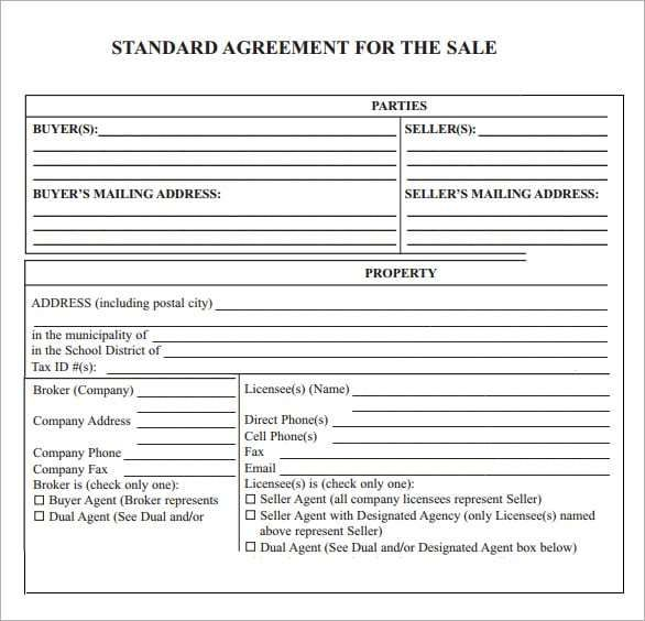 Sales Agreement Templates 3 Printable Pdf Word Formats With