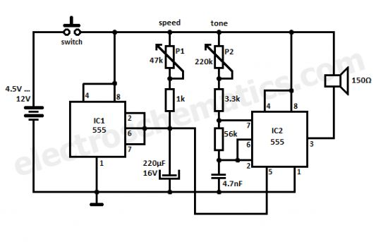 diy electronic siren circuit diagram