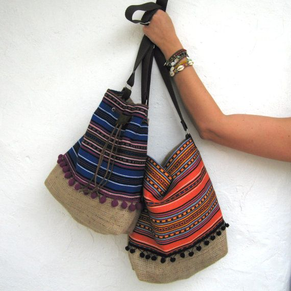 Bucket Bag. Boho Chic Fabric Bag. Hobo Bag Bohemian by maslinda