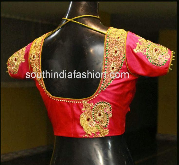 Maggam Work Bridal Saree Blouse ~ Celebrity Sarees, Designer Sarees, Bridal Sarees, Latest Blouse Designs 2014