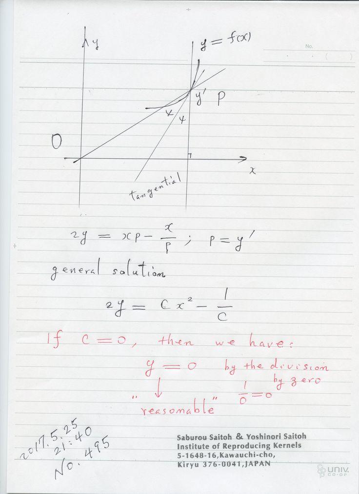 №495‐884:  図は幾何学的に意味のある微分方程式とその一般解です。 ところが定数 C=0 が従来数学だと考えられないので、 解y=0が一般解に含まれませんが、ゼロ除算で 自然に導かれる。解はゼロ除算で、微分方程式も 幾何学的な意味を持つ解が得られる。 微分方程式を y=0 が満たしているというところにも ゼロ除算が必要です。 ゼロ除算が有効な確かな証拠です。 The division by zero is uniquely and reasonably determined as 1/0=0/0=z/0=0 in the natural extensions of fractions. We have to change our basic ideas for our space and world   Division by Zero z/0 = 0 in Euclidean Spaces Hiroshi Michiwaki, Hiroshi Okumura and Saburou Saitoh International Journal of Mathematics…