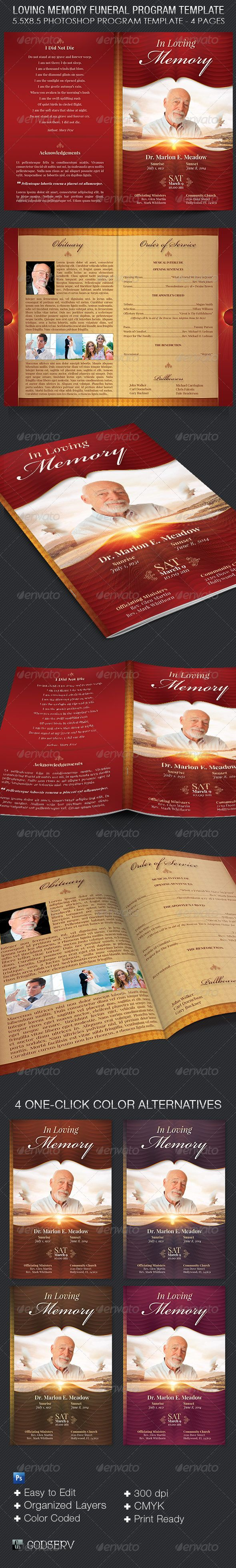 """Loving Memory Funeral Program Template - 8.00 The Loving Memory Funeral Program Template is for a modern commemorative or home going service. It's gold decals and text style laid over a decorative red and yellow background will honor and dignify your loved ones. This template is easy to edit which will speed up your production schedule. All you need to do is, """"Edit, Save, Print"""""""