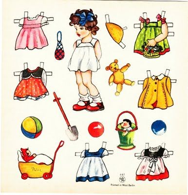 West Berlin paper doll, ca. 1950s  http://thepapercollector.blogspot.com/2009/10/west-berlin-paper-doll-c-1950s.html