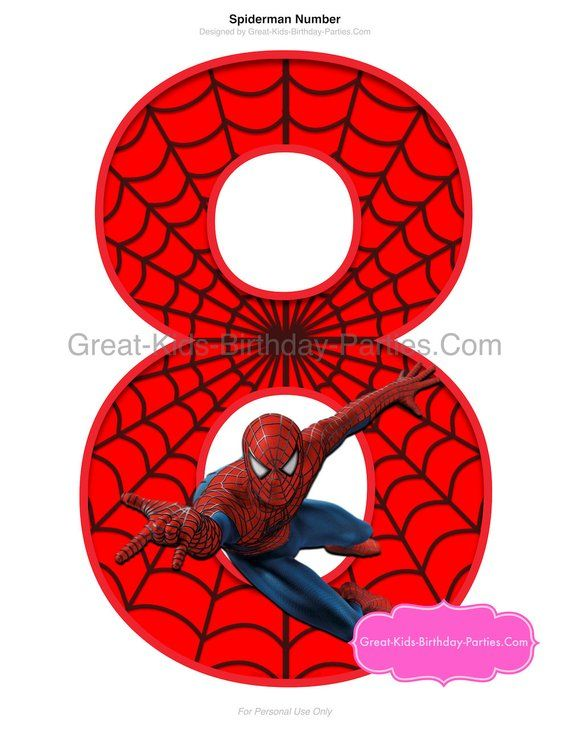 Spider Printable Number 8 Centerpiece Instant Download Spider Theme Birthday Spider Themed Clipart Spider Party Supplies Spider Party Fourth Of July Crafts For Kids Spiderman Party Supplies Spiderman Birthday Party
