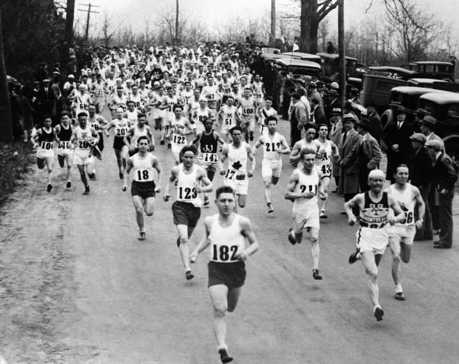 April 19,  1897: FIRST BOSTON MARATHON IS HELD  -    The first Boston Marathon is held; winner John J. McDermott ran the course in two hours, 55 minutes and 10 seconds.