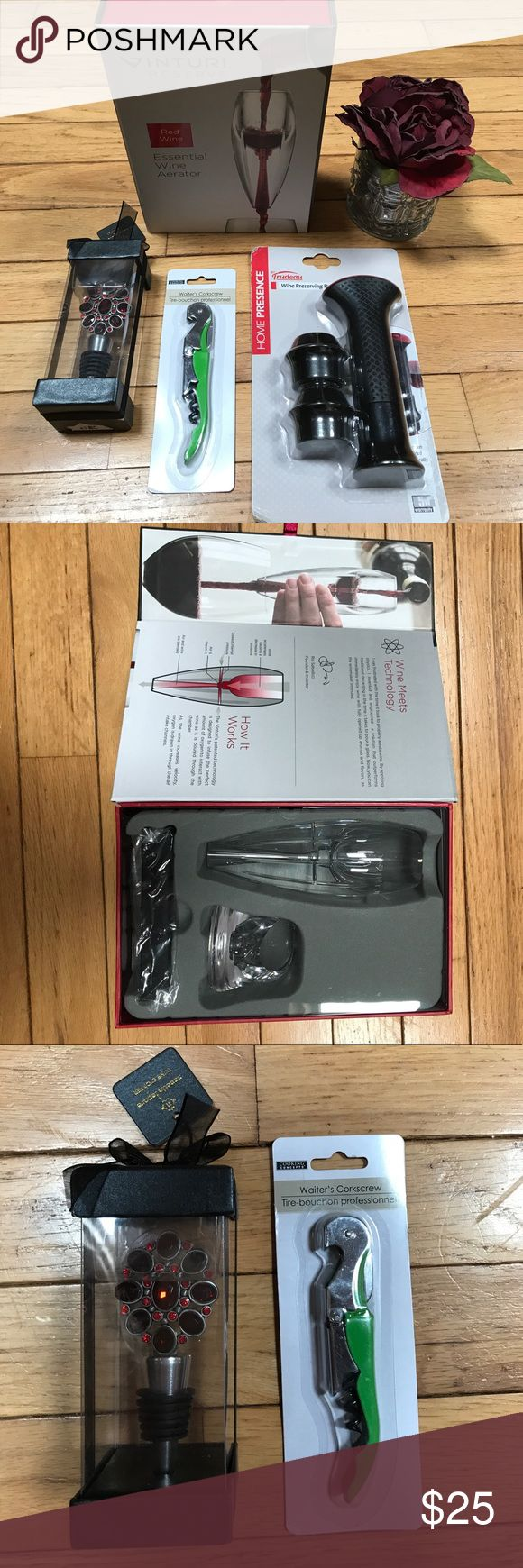Wine Accessory Bundle NWT This bundle includes a Wine Aerator, Wine Pump and Stoppers, and Corkscrew. Your girlfriend will love this wine bundle as a gift! Inturi Reserve Accessories
