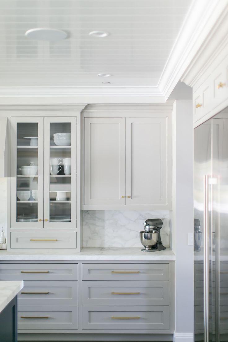 Gorgeous Light Grey Cabinets Marbled Countertops Backsplash White Trim Gold Hardware Kitchen Interior Light Gray Cabinets Painted Kitchen Cabinets Colors