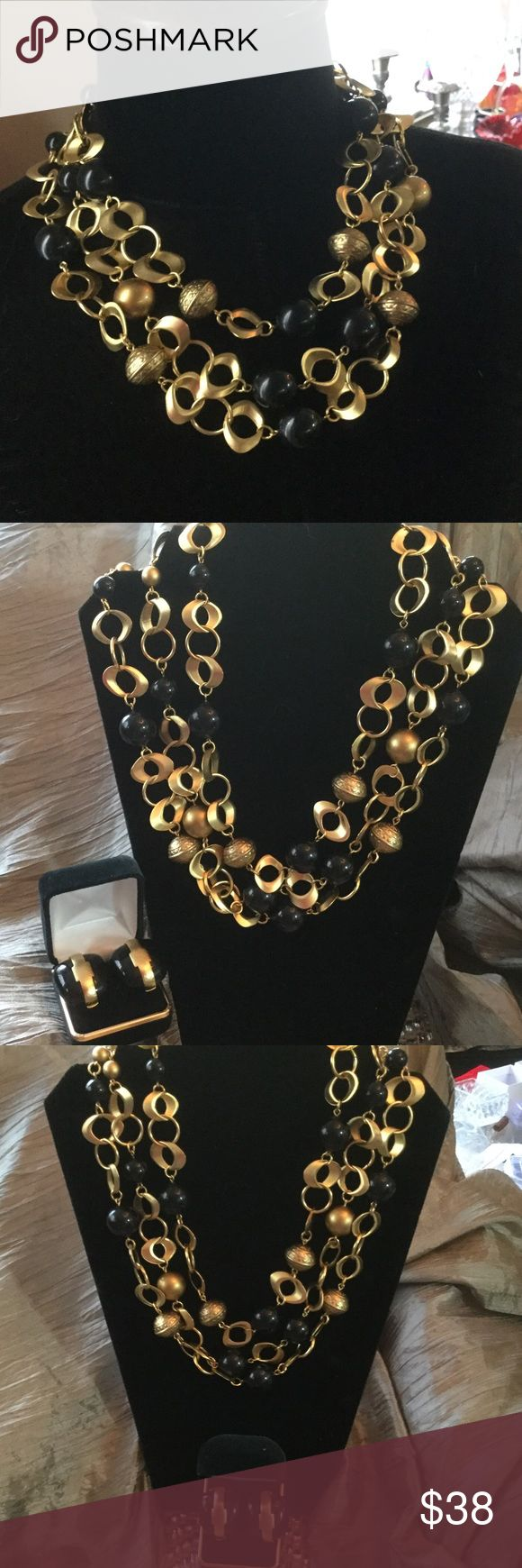 Vintage Necklace & 3 Free pairs of Earrings Super stunning and oh so expensive looking !  Beautiful rich black & gold tones compliment so many looks ! Triple strand necklace from Hi end estate and 2 of the earrings are comfy clips, the pearl one is pierced.  Upper crust Elegance ! Estate Jewelry