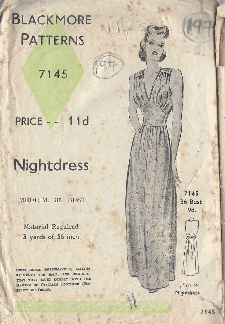 "1940s Vintage Sewing Pattern B36"" NIGHTDRESS (197) 