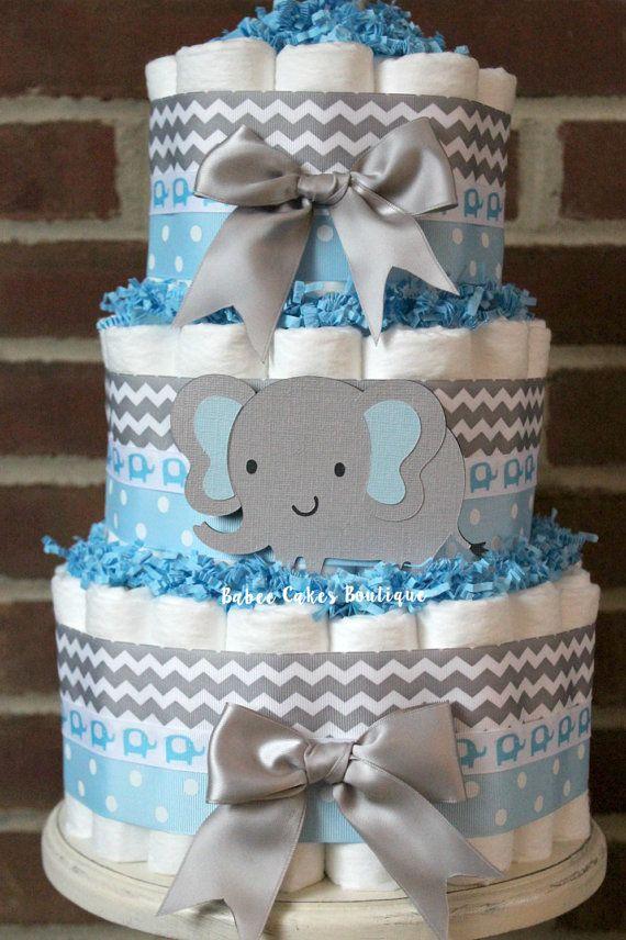 Torta de pañales 3 niveles azul y gris elefante elefante gris