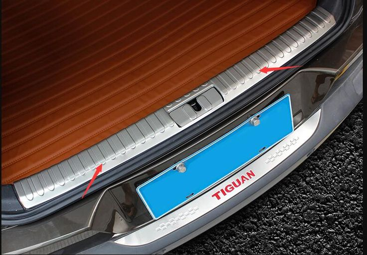 Stainless Steel Inner Rear Bumper Protector Sill Trunk Tread Plate Trim for Volkswagen Vw Tiguan 2013 2014 2015 2016