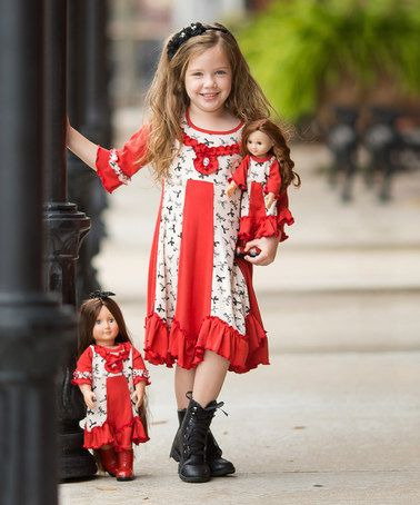 Red & Cream Bow-Print Dress & Doll Dresses - Girls #zulily #zulilyfinds