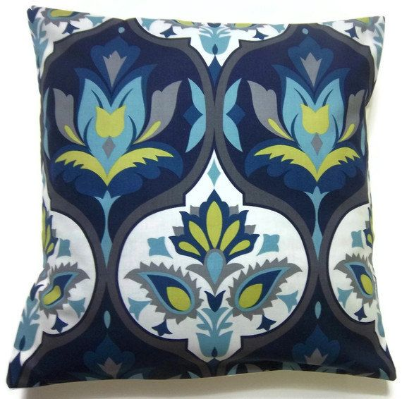 Blue And Teal Pillows Part - 28: Two Navy Blue Turquoise Chartreuse Gray Pillow Covers Damask Design Toss  Throw Accent Covers 16 Inch