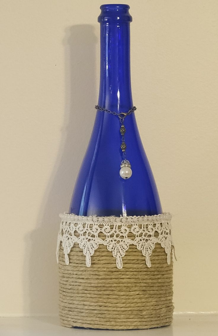 Cobalt Blue Pearl And Lace Wine Bottle By