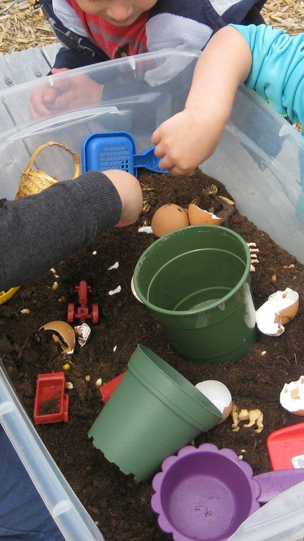 Farm Sensorial bin Items: Dirt, shovels, pots, and farm boob