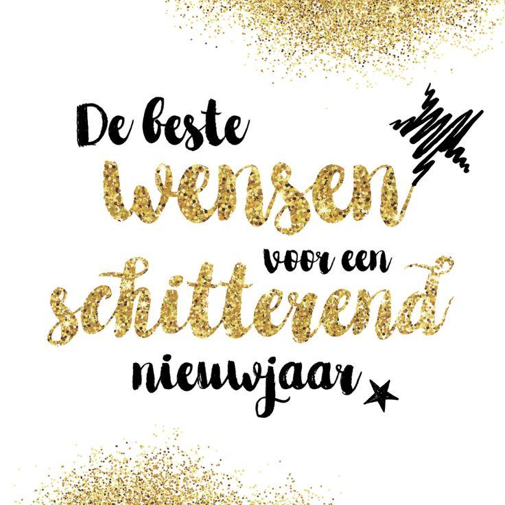 Mooie, eenvoudige nieuwjaarskaart met sierlijke letters, gouden glitters en sterren. Voor een schitterend nieuwjaar. Deze kaart is verkrijgbaar bij #kaartje2go voor €1,89