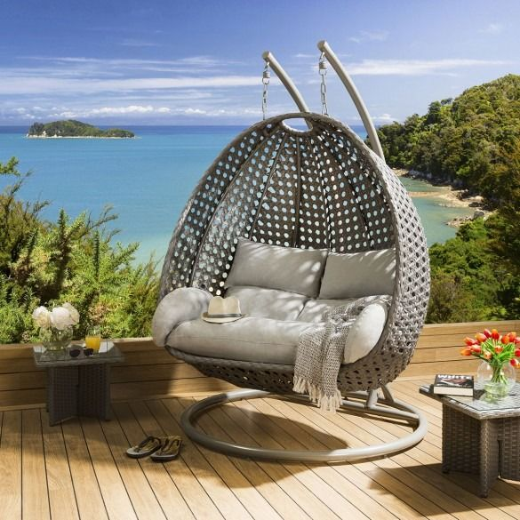 Luxury Outdoor 2 Person Garden Hanging Pod Egg Chair Grey Silver Hanging Chairs Garden Q In 2020 Hanging Garden Chair Hanging Chair Outdoor Hanging Egg Chair