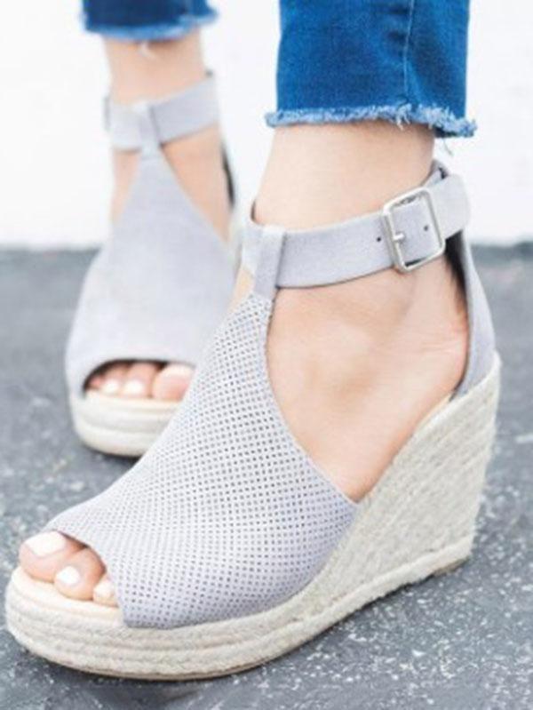 e0fc2d950e02d7 Fashion Open-toe Slipsole Wedge Heels Sandals Shoes