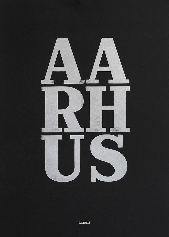 Letterpressed 50x70cm poster. Silver on black cotton paper. Aarhus
