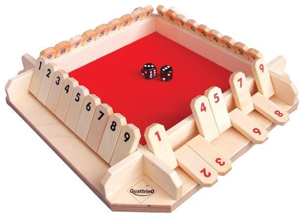 Quattrino is een spel waar we het splitsen van een getal inoefenen. Elke speler mag twee keer met twee dobbelstenen gooien. Hij/Zij kijkt telkens in welke getallen hij de som van beide dobbelstenen kan splitsen. De som van de overgebleven cijfers zijn strafpunten. Daarna is het aan de volgende speler.
