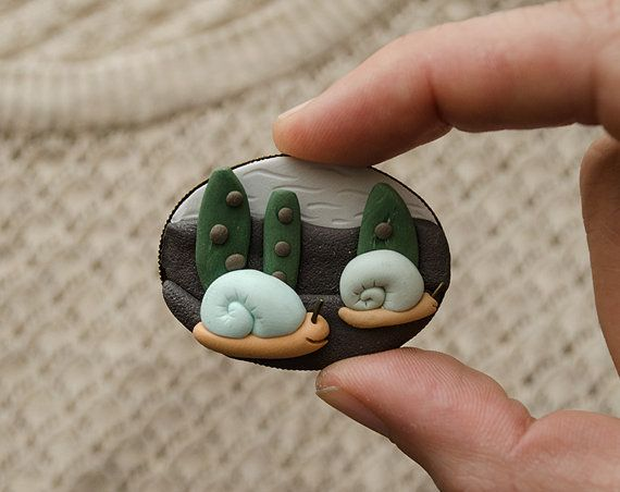 Brooch with snails / woodland hand sculpted pin / by LaDetallista