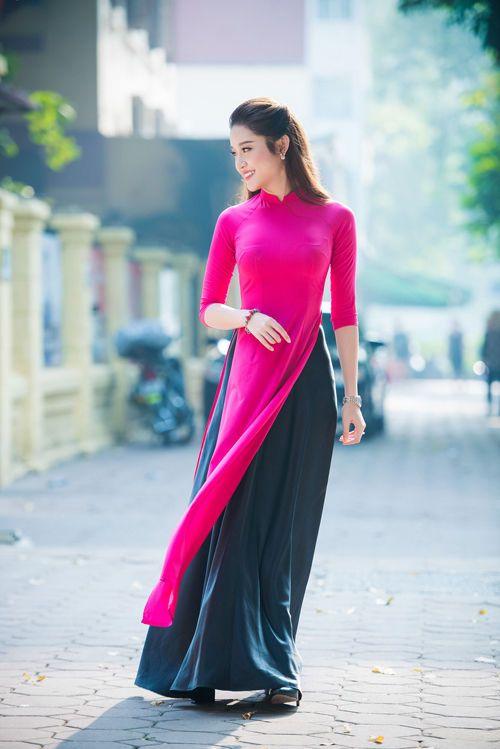 AO DAI Vietnam CUSTOM MADE, Pink Dress, Black SATIN Skirt, Best Price #HienThao #Casual