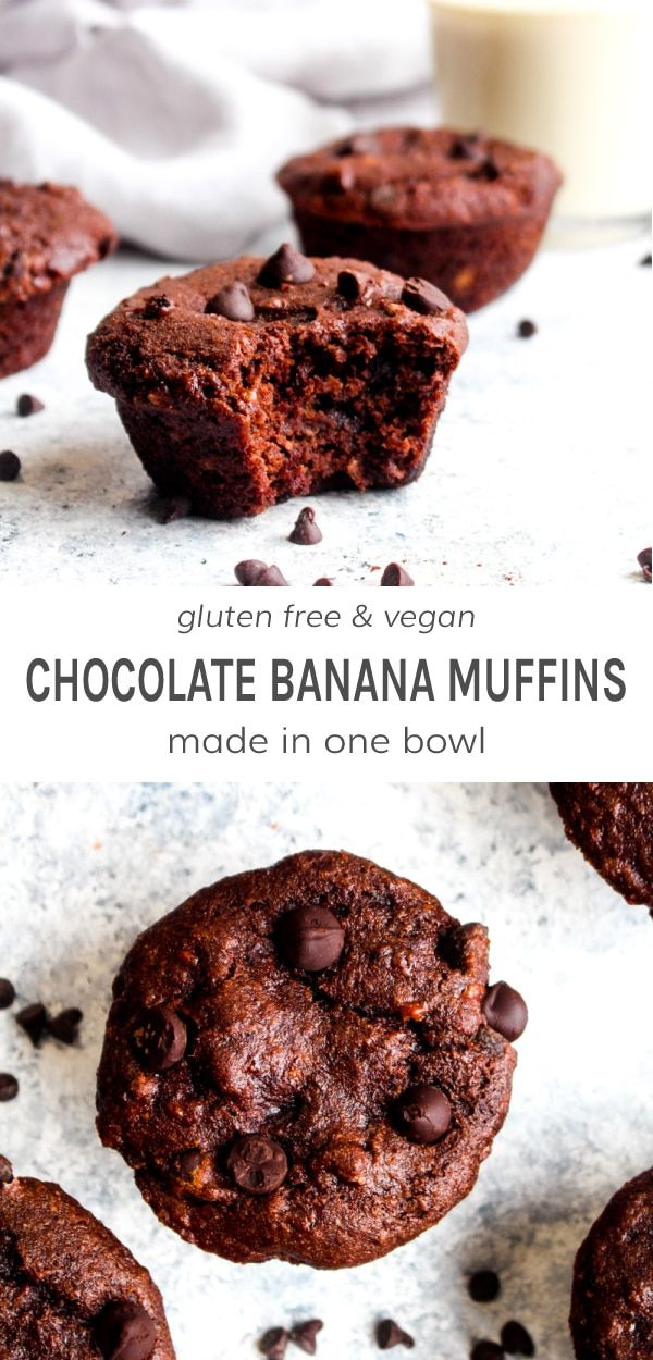 Double Chocolate Banana Bread Muffins Gluten Free Vegan Darn Good Veggies Recipe Chocolate Banana Chocolate Banana Bread Banana Bread Muffins