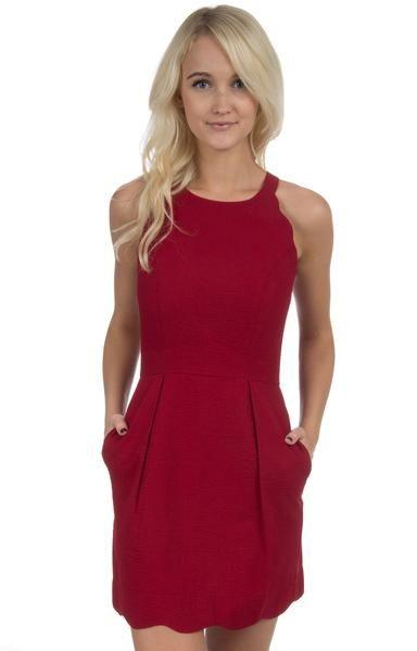 Crimson - The Landry Solid Seersucker Dress Front