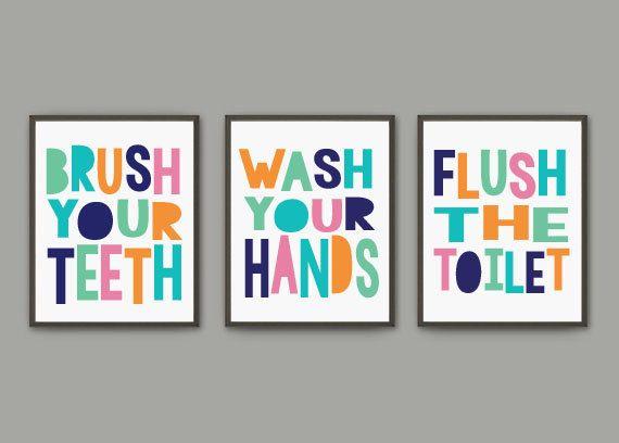 Gender Neutral Kids Bathroom Print Set   Brush Wash Flush   Three Print Set   Digital Download
