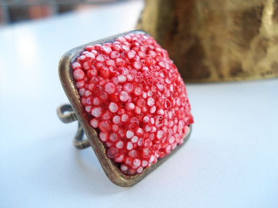 Hot red square ooak polystyrene rectangle adjustable ring by Joogr, €16.00