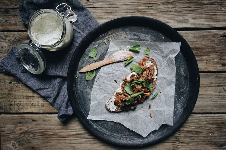 chanterelle, horseradish & sage on sourdough bread