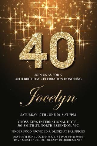 40TH Birthday Party Invitation Digital Printable Template