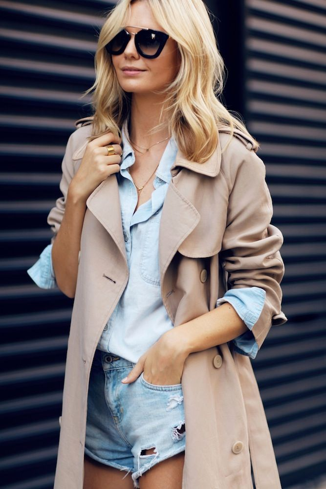 lightweight trench over denim on denim. Camel/beige colours can break up denim and blends well with the blue tones.