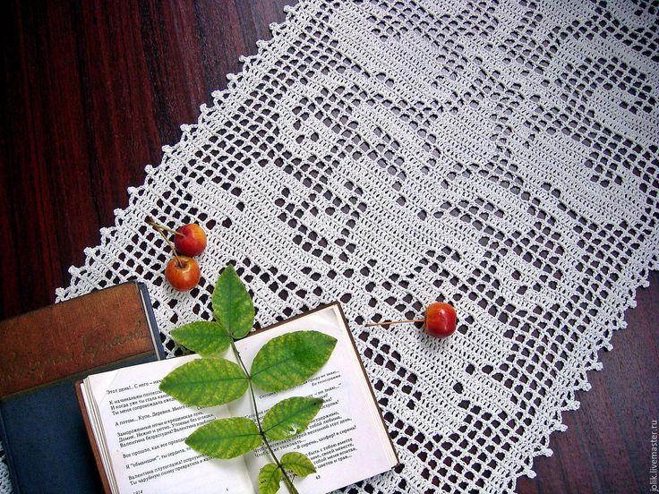 Купить Дорожка вязаная крючком - кремовый, белый, дорожка на стол, дорожка, винтаж, текстиль для дома