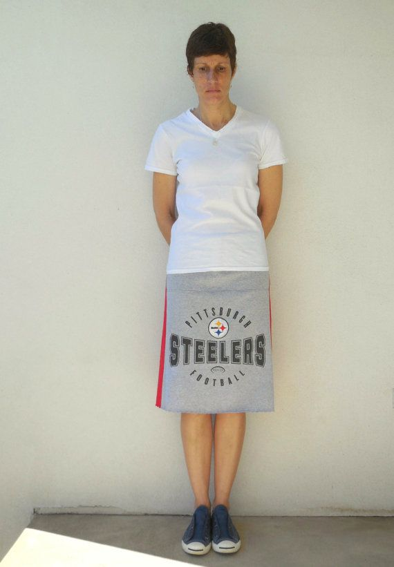 Women's Skirt Pittsburgh Steelers T-shirt Skirt Red Gray by ohzie