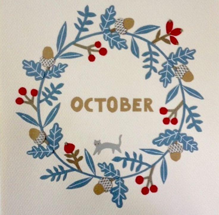 Calendar picture, October. Paper cut.
