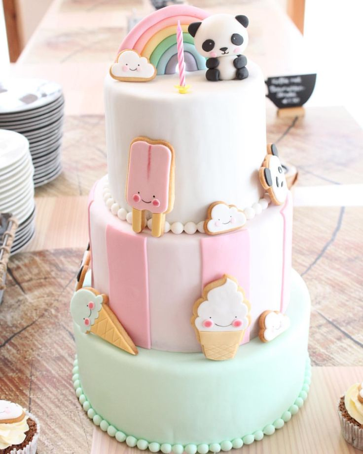 Kawaii - Pastel 3-Tier Panda Rainbow Cake - royal icing