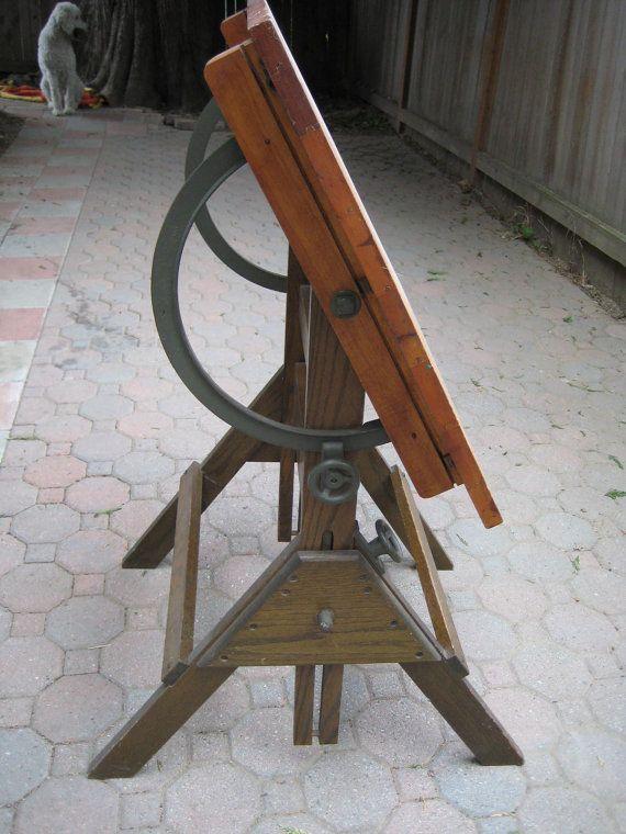 Drafting Table Vintage Oak Furniture Antique