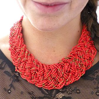 Red Bead Statement necklace - rode statement ketting - koop online op shoplikesuze.nl